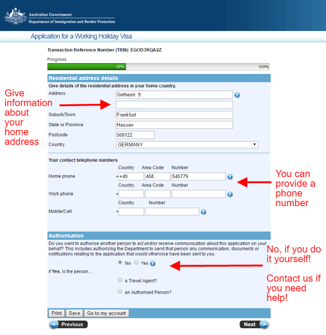 working holiday application for australia