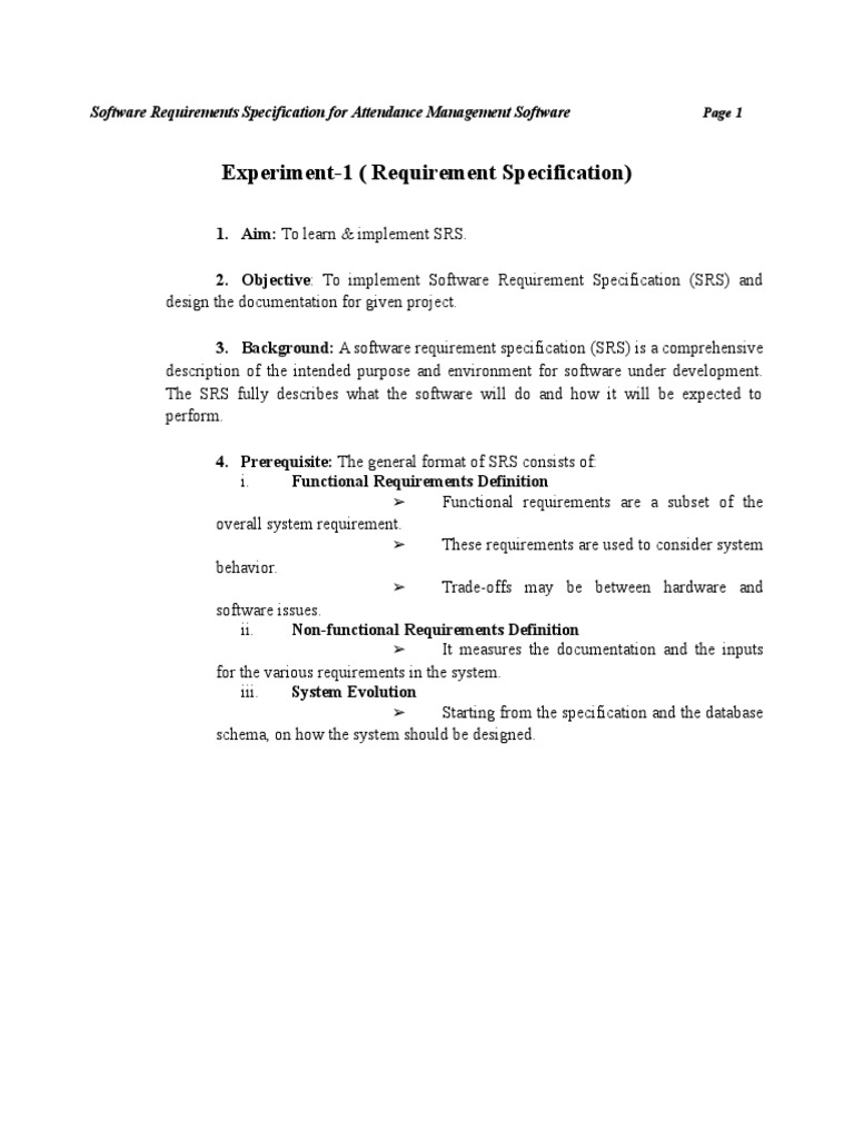 technical specification document web application
