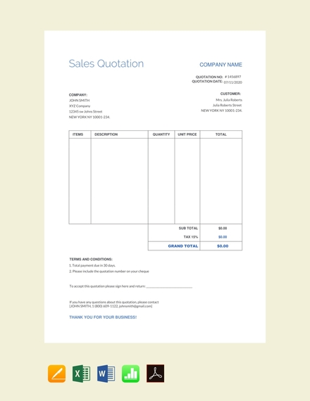 sales quotation terms and conditions sample