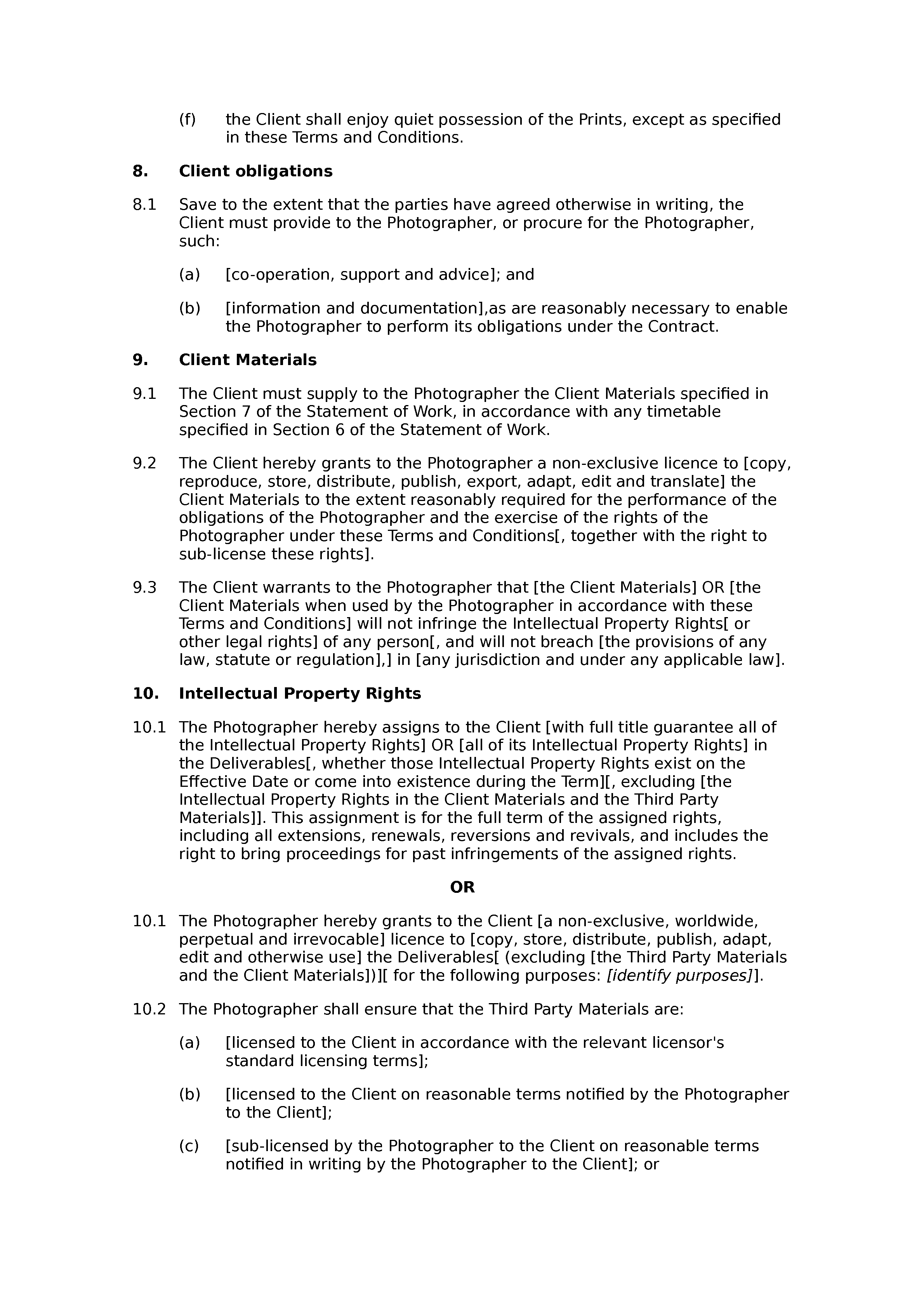 photography terms and conditions template