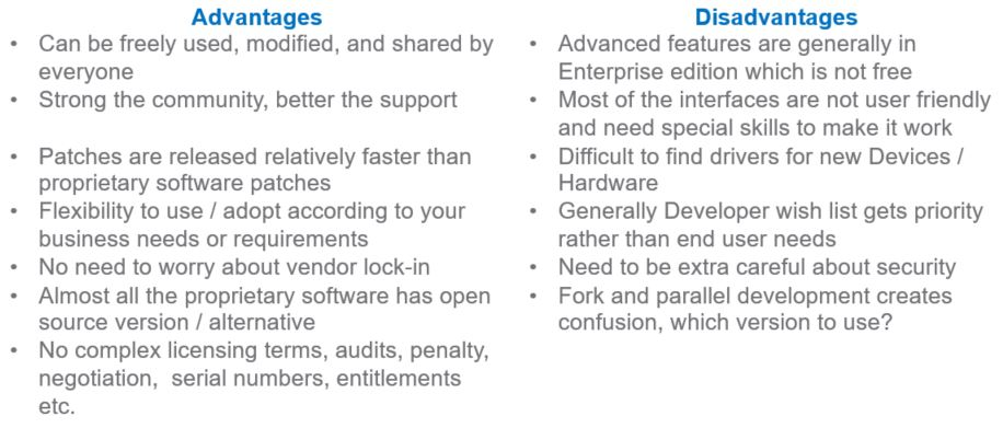 open source software advantages and disadvantages pdf