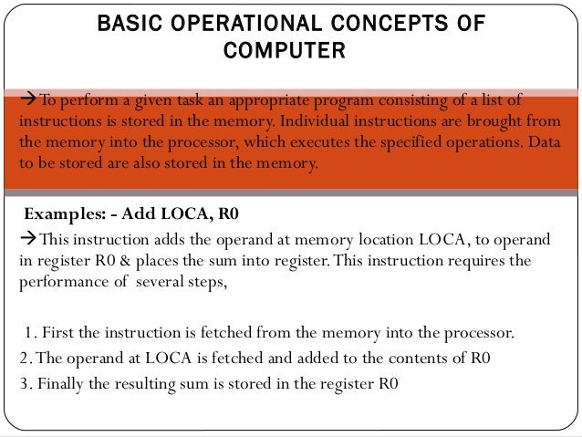 perform task specified in program instructions