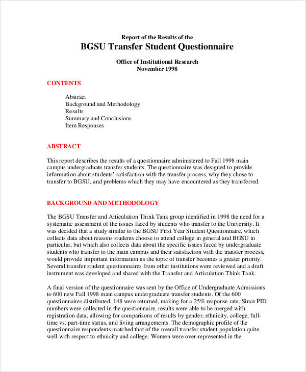 questionnaire sample for students pdf